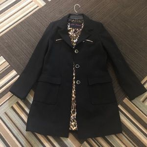 SALE!  Betsey Johnson black coat w/ leopard lining